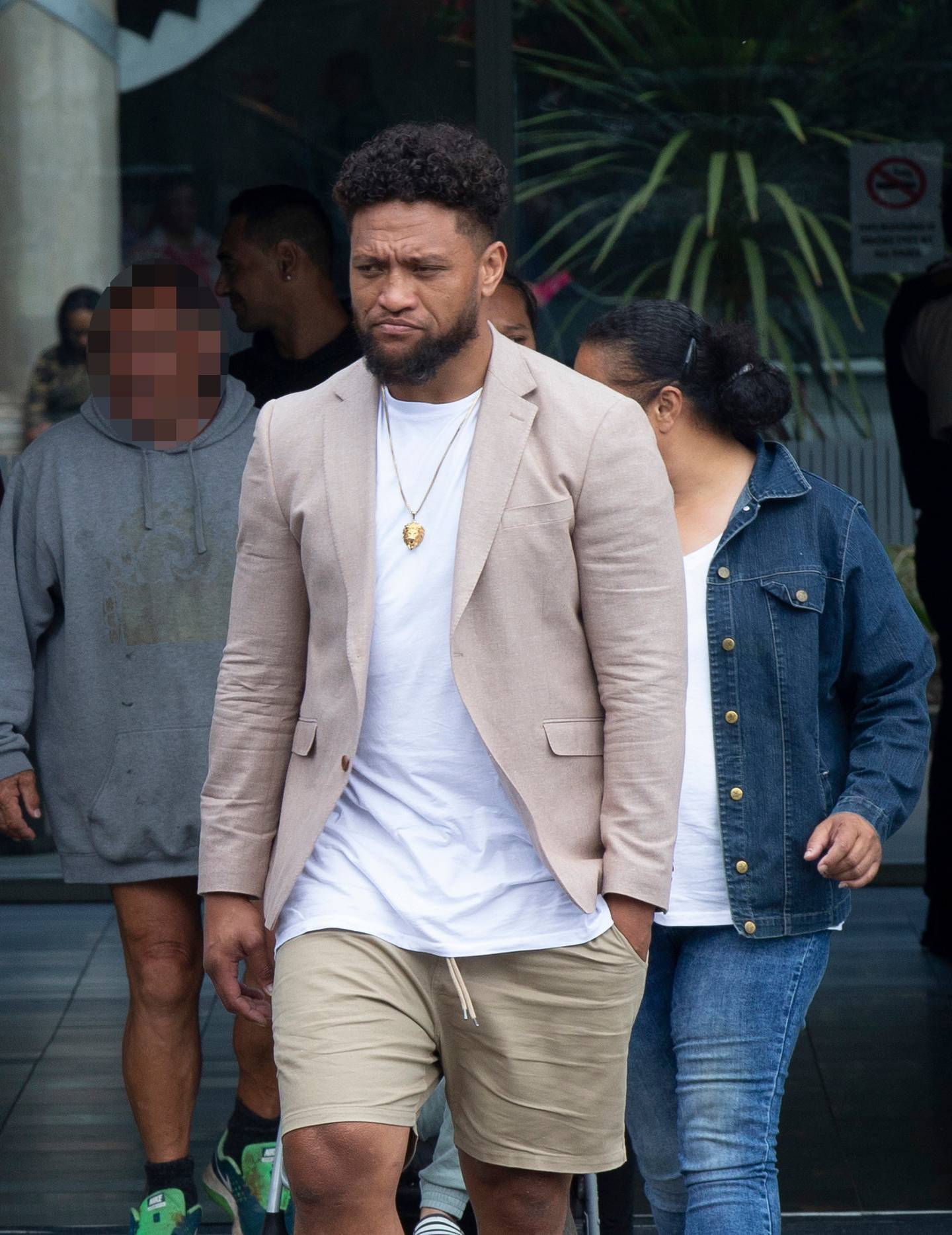 Manu Vatuvei outside the Manukau District Court after an appearance for charges of importing and supplying methamphetamine in December 2019. Photo / Leon Menzies