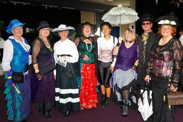 The winning Whanganui steam punk group poses with best dressed man Micheal Spicer (at right). Whanganui Chronicle Photograph by Bevan Conley