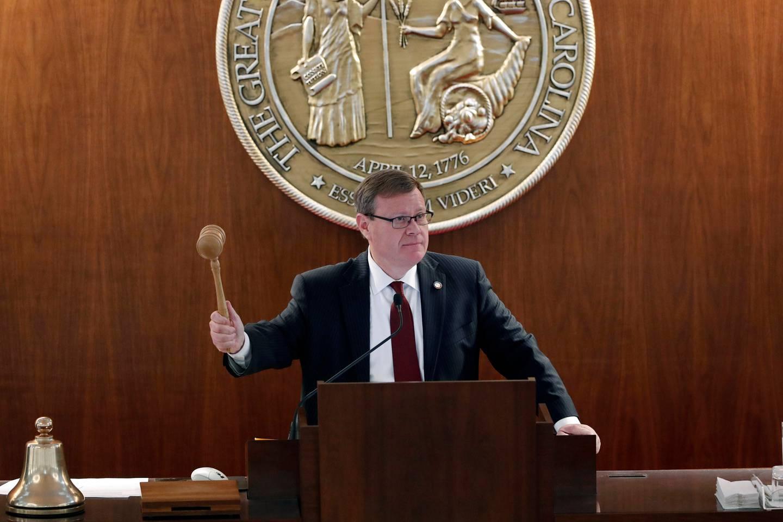 House Speaker Tim Moore, R-Cleveland, gavels in a session as North Carolina legislators convene on the House floor. Photo / AP