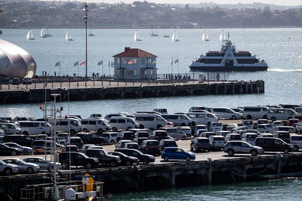 Imported cars lined up at the Ports of Auckland on the Captain Cook Wharf in front of Queens Wharf. Photo / Jason Oxenham