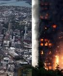 Auckland Council has identified 209 high-rise buildings that could have highly combustible cladding like London's Grenfell Towers which burnt down in June (right).