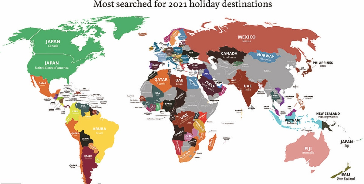 World map reveals where different nationalities want to go on holiday