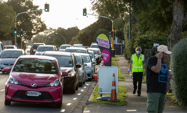 Members of the public queue for the Covid-19 testing station on St Lukes Road on Monday. Photo / Greg Bowker