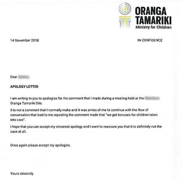 An apology letter sent to the mother by the Oranga Tamariki social worker concerned. Photo / Supplied