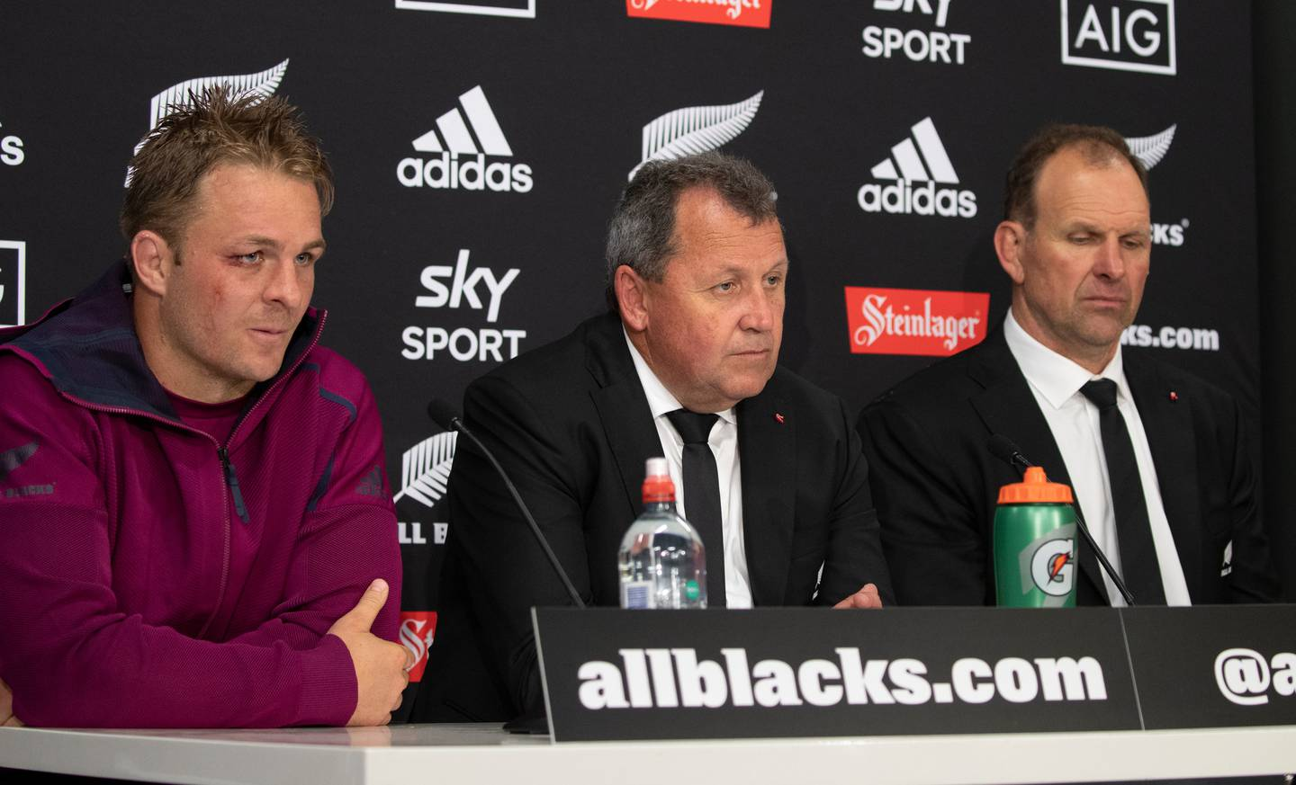 All Blacks coach Ian Foster flanked by captain Sam Cane and assistant coach John Plumtree during the post-match press conference after their 16-all draw with Australia. Photo / Mark Mitchell