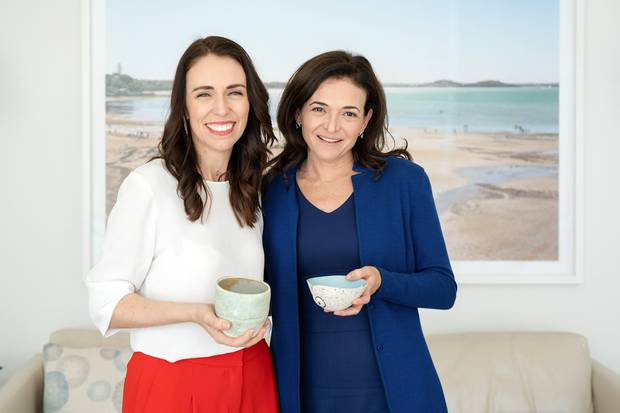 PM Jacinda Ardern, pictured here with Facebook 2IC Sheryl Sandberg in New York, said a year ago that New Zealand laws around digital harm needed to change. Photo / Supplied