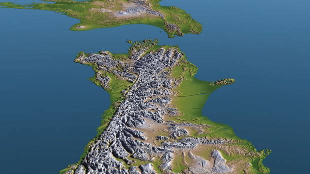 The lengthy Alpine Fault, which runs along the spine of the Southern Alps, has garnered much attention as it has a clear geographic record of rupturing every 300 years or so. Image / GNS Science
