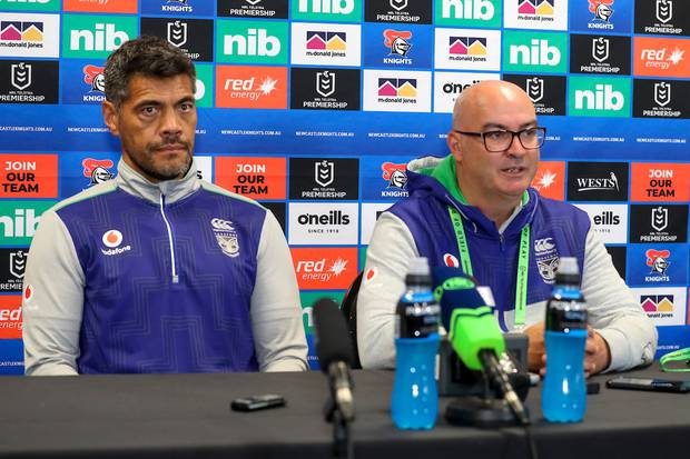 Warriors CEO Cameron George (right) and coach Stephen Kearney. Photo / Photosport