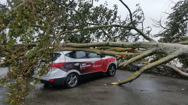 A Radio New Zealand car was crushed while the reporter reported on the storm in Nelson. Photo / Nelson App