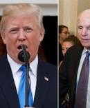 US President Donald Trump and Senator John McCain, whose vote meant a repeal failed. Photos / AP