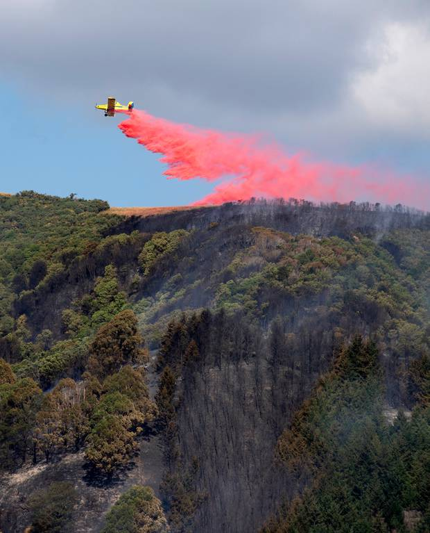 A fixed-wing plane drops fire-retardant during the fight the blaze that started above Nelson city on Friday. Photo / Tim Cuff