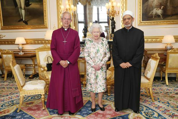 The Queen wore the American State Visit brooch gifted by the Obamas when she was joined by the Archbishop of Canterbury and Sheikh Ahmad Al-Tayeb. Photo / Getty Images