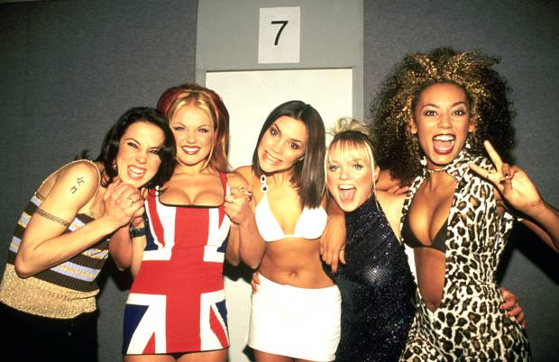 Spice Girls photographed backstage at the Brit Awards in February 1997. Photo / Getty Images