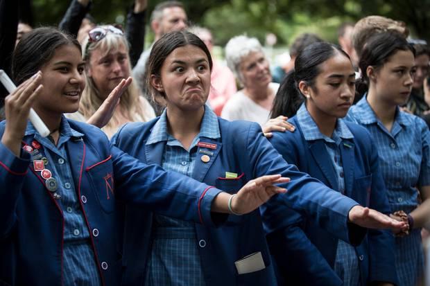 Student vigil, Hagley Park Christchurch. Photo / Michael Craig