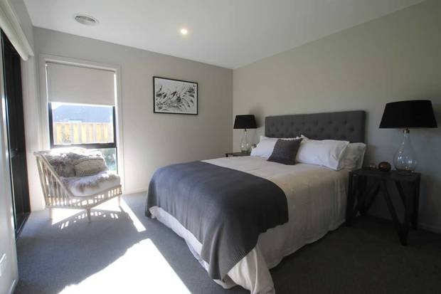 Master bedroom at a KiwiBuild, Wanaka. Photo/Winton