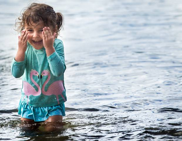 Aura Welsh, 3, at Lake Okareka today. Photo / Supplied