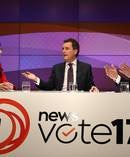 Presenter Mike Hosking chairs the leaders' debate between Jacinda Ardern and Bill English. Photo / Getty Images