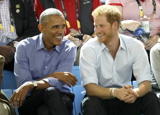 Former U.S. President Barack Obama and Prince Harry on day 7 of the Invictus Games. Photo / Getty Images