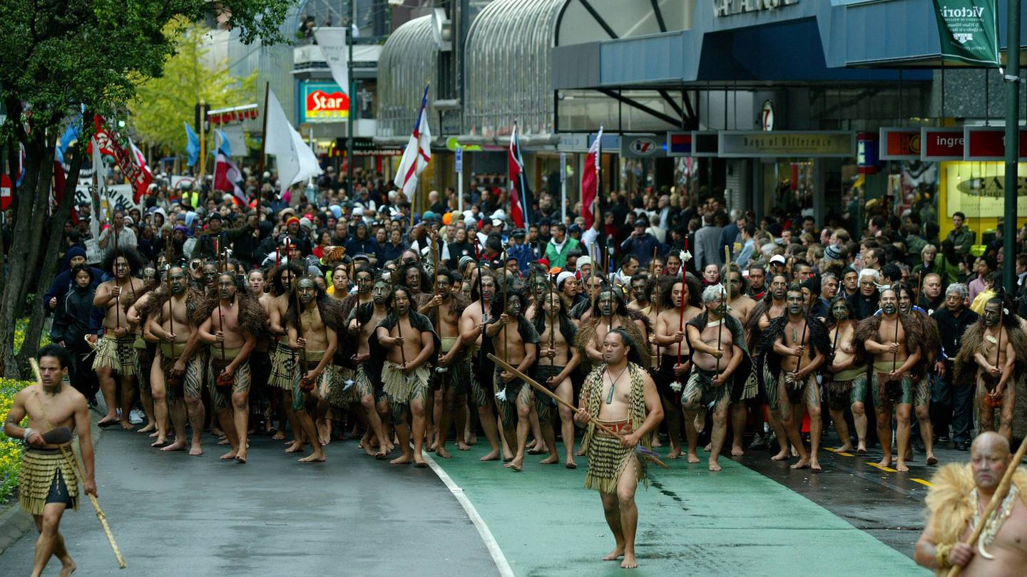The 2004 foreshore and seabed hikoi in Lambton Quay en route to Parliament. Photo / Kenny Rodger