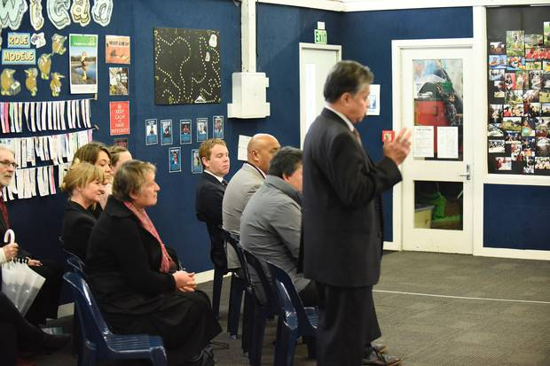 Education Minister Chris Hipkins at the announcement. Photo / George Novak