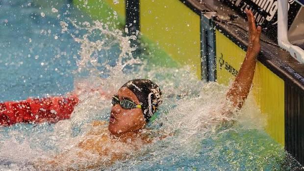 Taonga Wharekura takes gold in the boys' 13 years 50m backstroke. Photo / Supplied