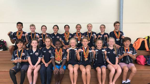 The Swim Rotorua team collected a total of 48 medals at the Waikato Junior Swimming Championships. Photo / Supplied