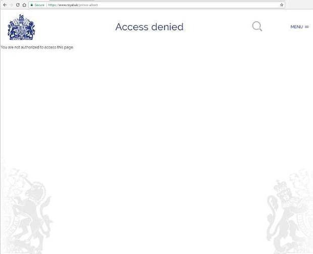 This is the message that greets visitors attempting to access a page on 'Prince Albert' - which could be the strongest hint yet at the royal's name.