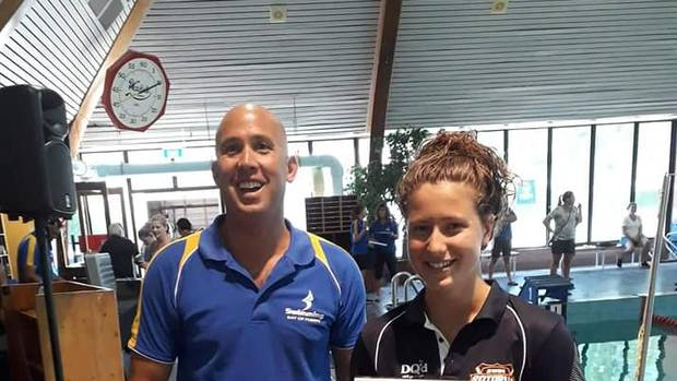 Skye Cox (right) won the 16 years and older division at Rotorua's Summer Sizzler swim meet. Photo / Supplied