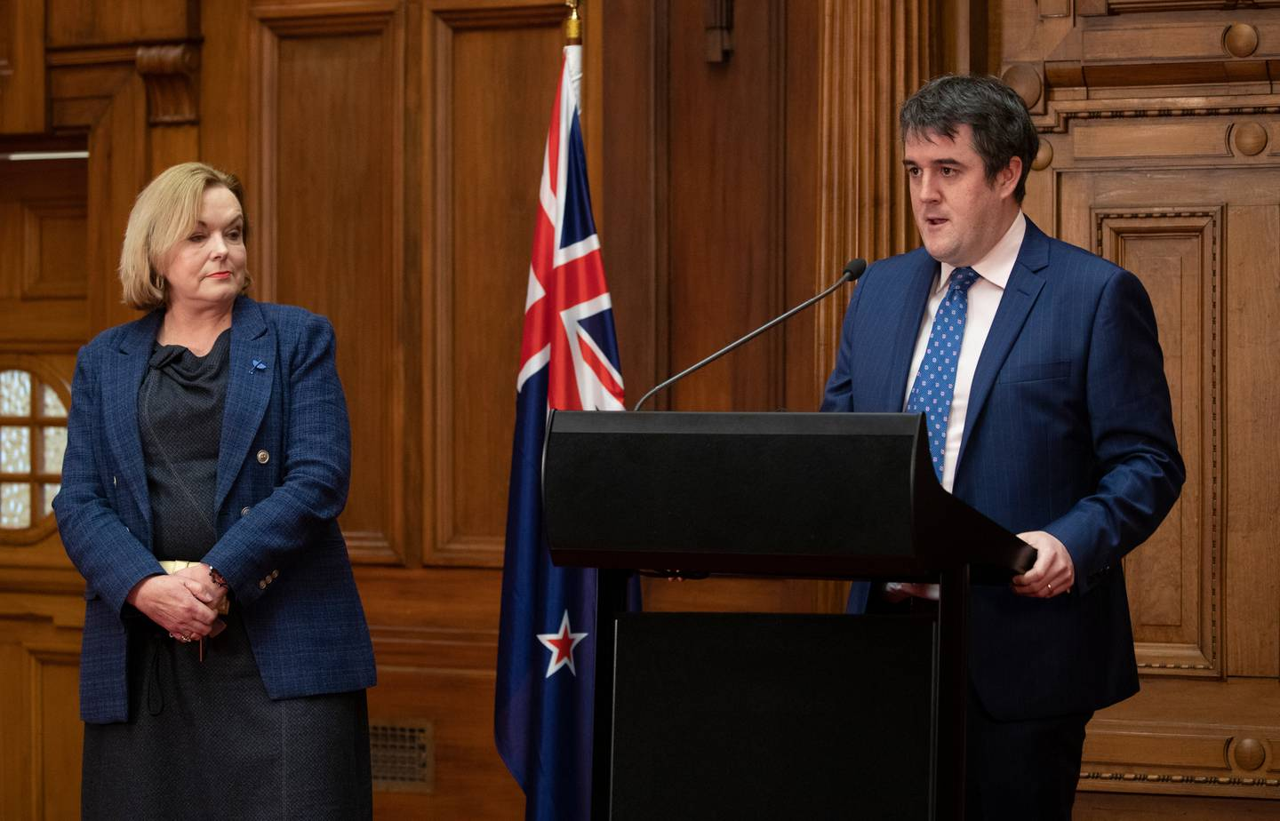 The National Party's leader, Judith Collins, and its Covid-19 response spokesman, Chris Bishop. Photo / Mark Mitchell