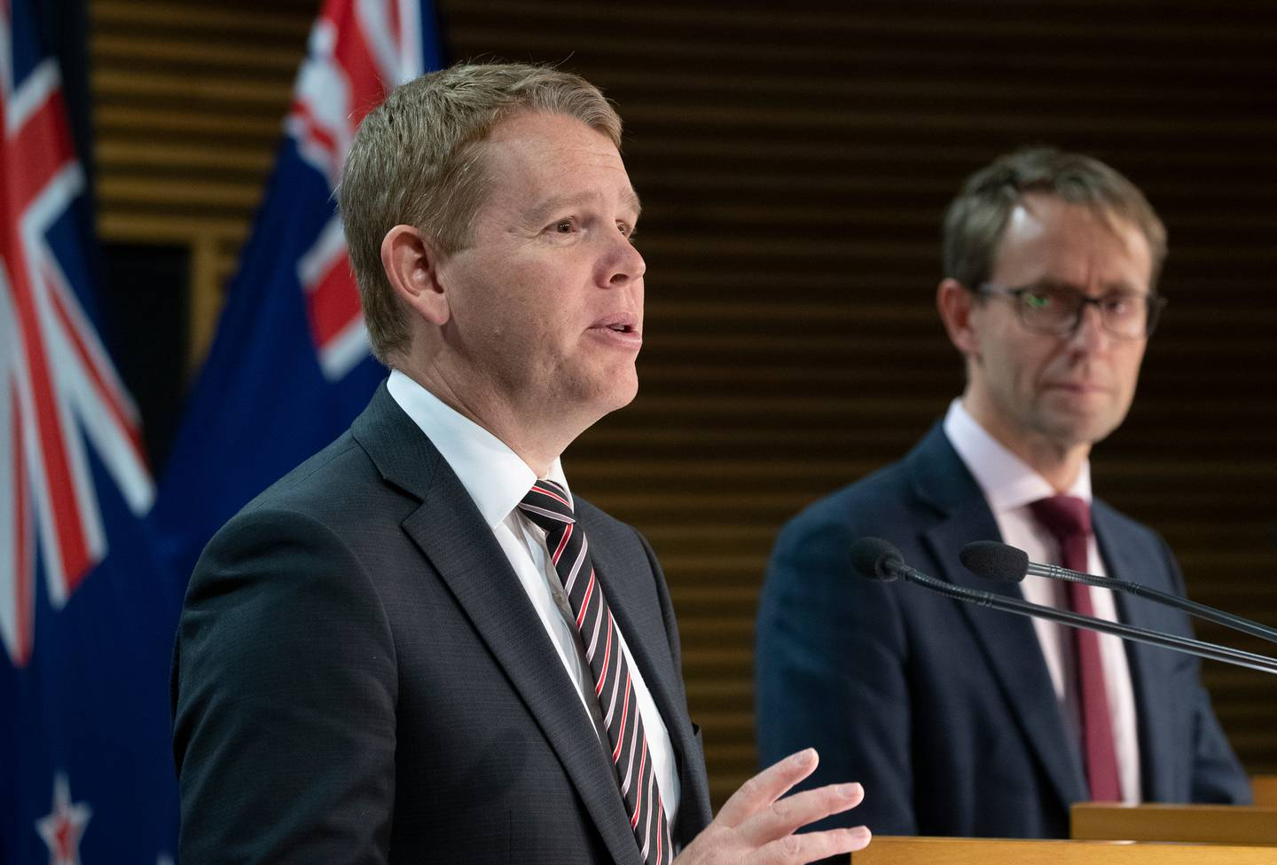 Covid-19 Response Minister Chris Hipkins and director-general of health Dr Ashley Bloomfield during their press conference at Parliament, Wellington. Photo /  Mark Mitch
