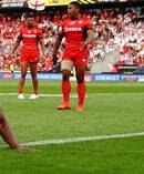 Jermaine McGillvary scores a try. Photo / Getty