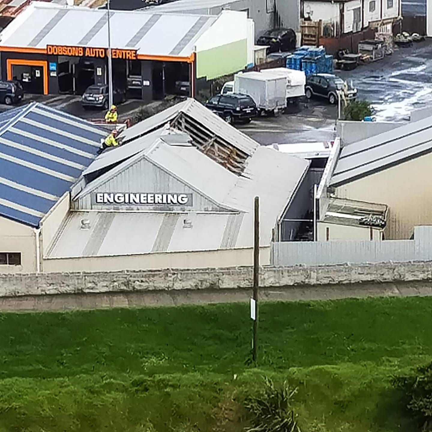 The roof taken off Reade Engineering in Waitara from today's tornado. Photo / Supplied