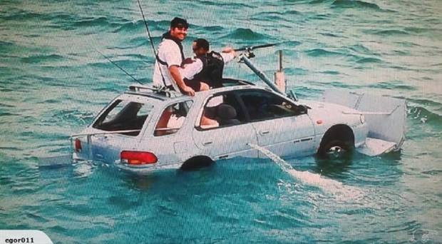 The car-turned-boat had a 17 pitch propeller and came with an engine that used between seven and 10 litres of petrol while on water. Photo / Trade Me