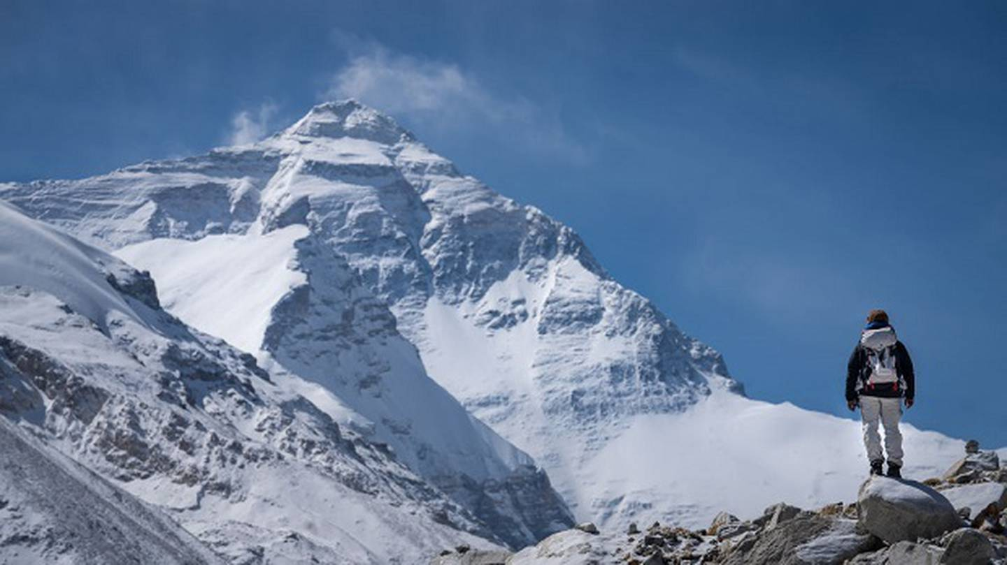 A climber visits Mount Qomolangma / Mount Everest in Shigatse in the Tibet Autonomous Region of China.  Photo / Getty Images