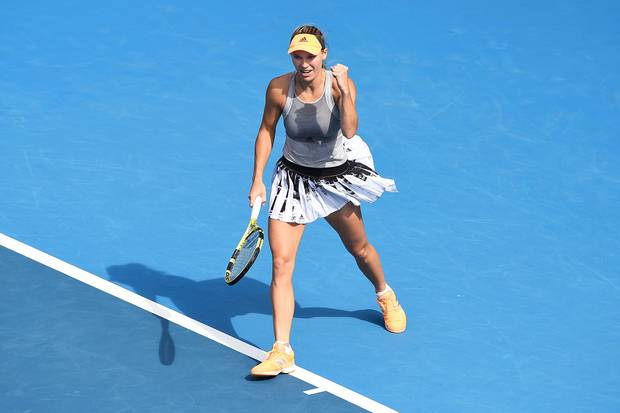 Caroline Wozniacki is pumped on her way to beating defending ASB Classic champion Julia Goerges 6-1 6-4 yesterday. Photo / AP