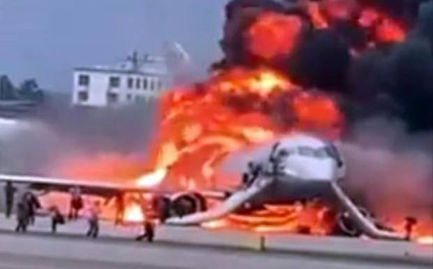 The plane managed to land but burst into flames.