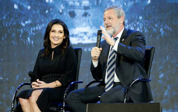 Rev. Jerry Falwell Jr., right, and his wife, Becky during after a town hall at a convocation at Liberty University in Lynchburg in 2018. Photo / AP