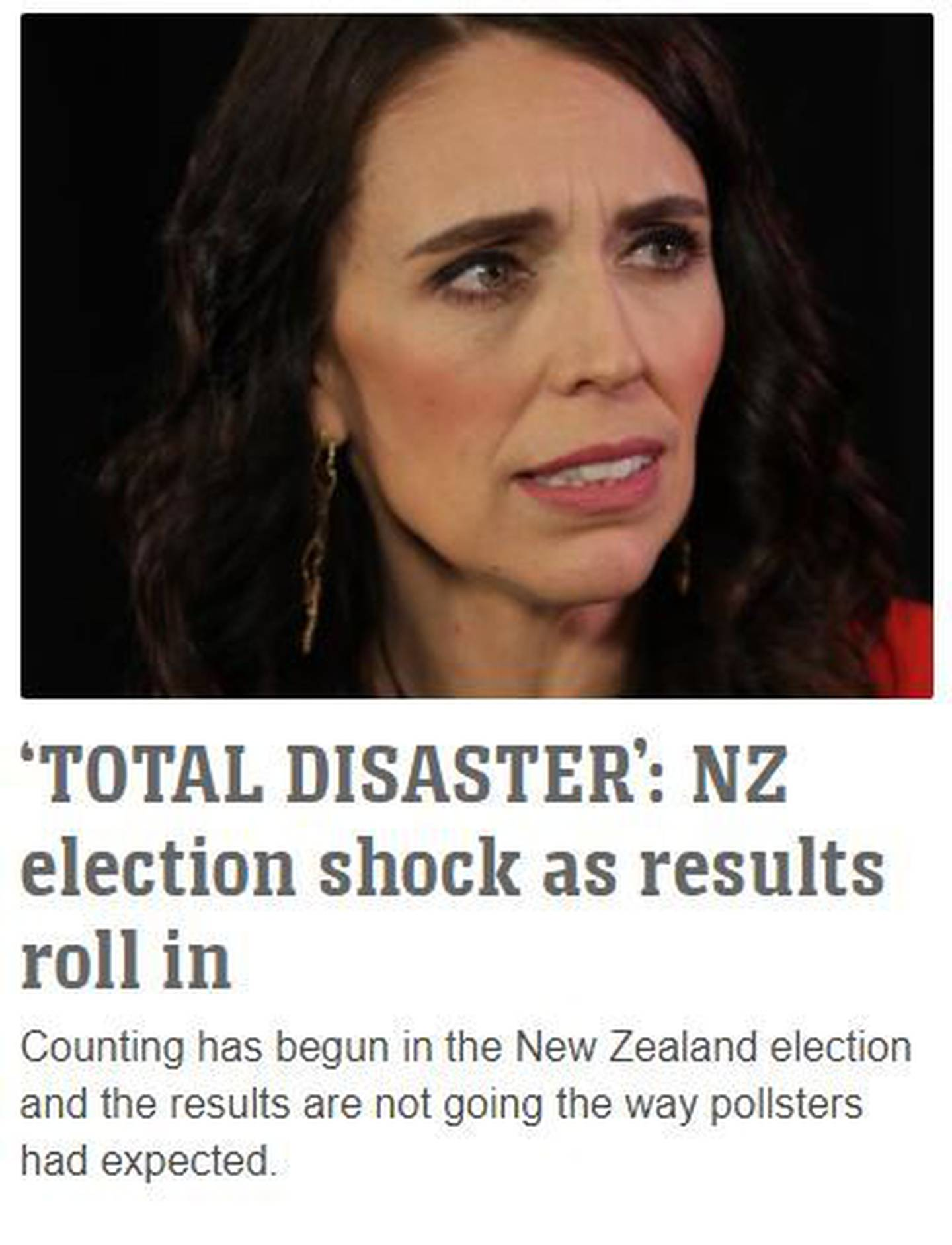 News.com.au's initial reporting of the results suggested that the outcome had been quite different.