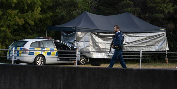 General view of the scene of last nights shooting incident in Tauranga. Photo / Alan Gibson.