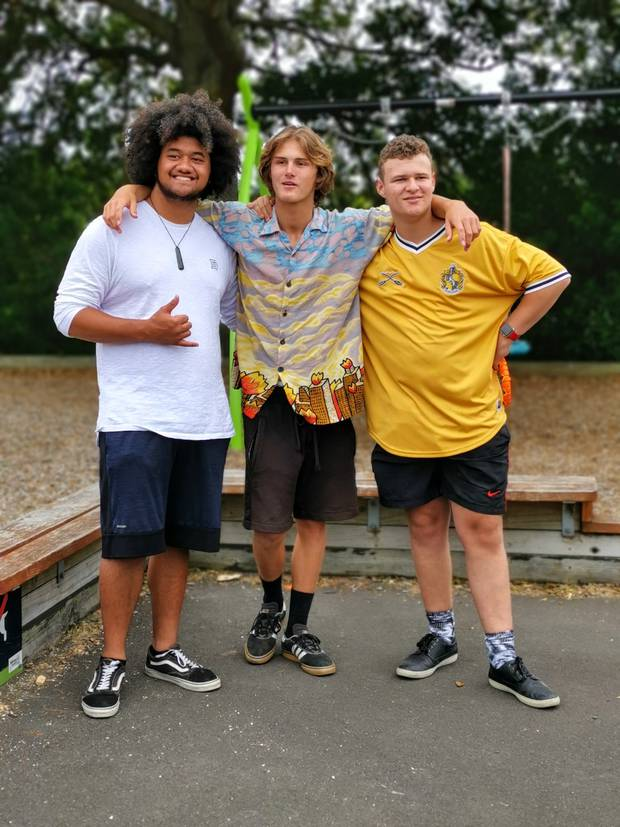 Benjamin Counsell, Reuben Powell and Phoenix Flack reunited 12 years after their iconic Mitre 10 advert. Photo / Supplied