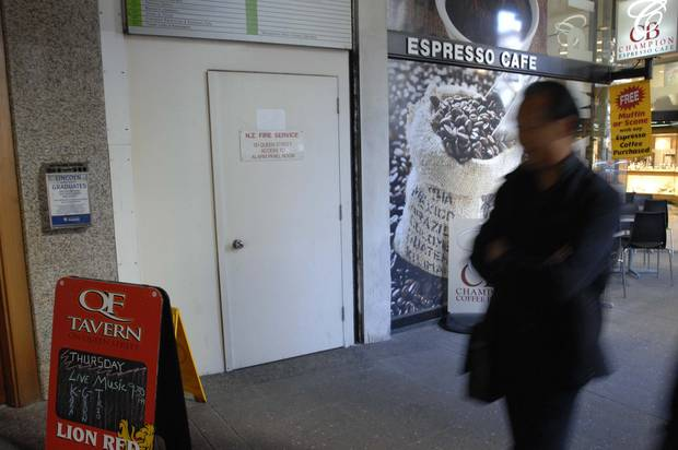 The entrance to the stairwell where Japanese tourist Kayo Matsuzawa's body was found in an utility cupboard. Photo / NZ Herald