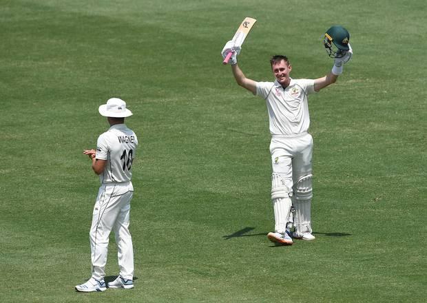 Australia's Marnus Labuschagne celebrates his double century. Photo / Photosport