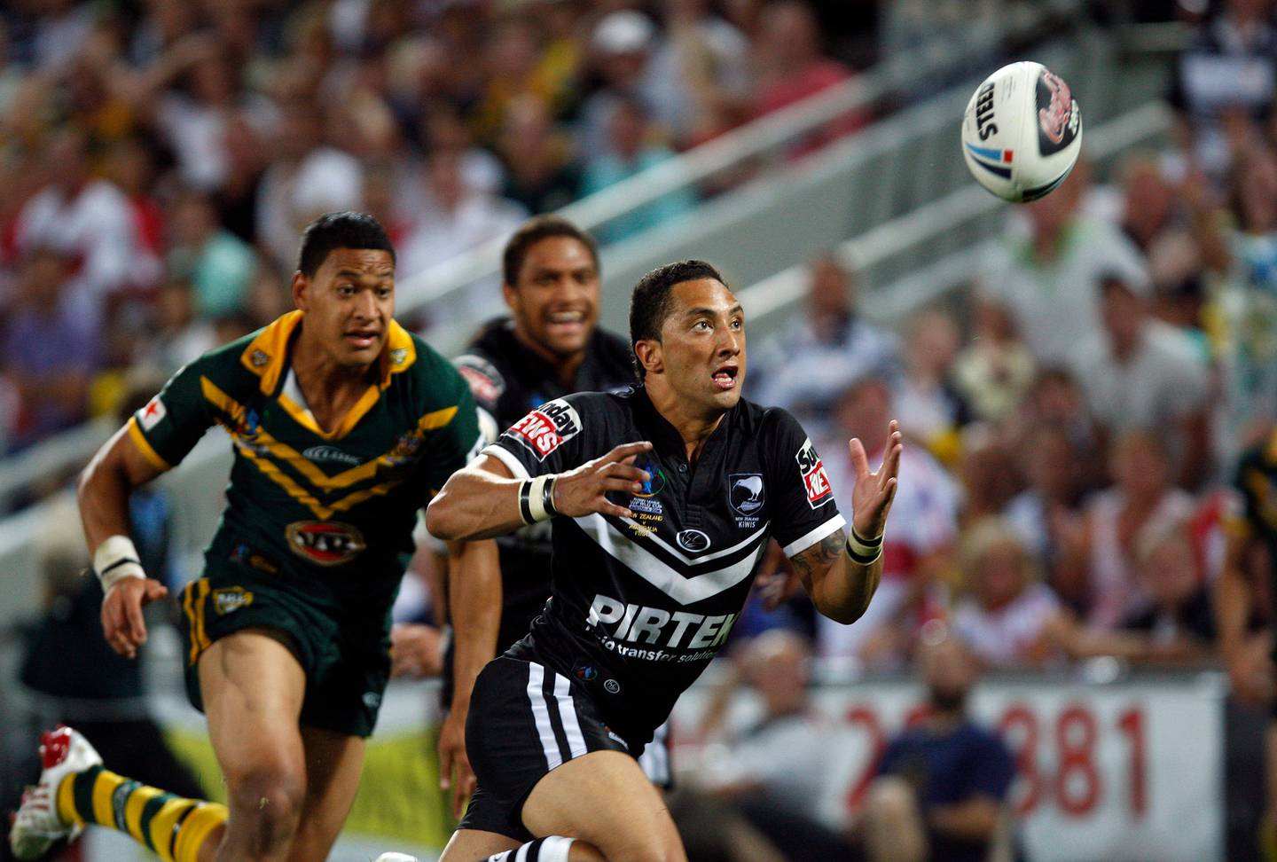 Benji Marshall in action during the Kiwis' win over the Kangaroos in the 2008 Rugby League World Cup final. Photo / Photosport