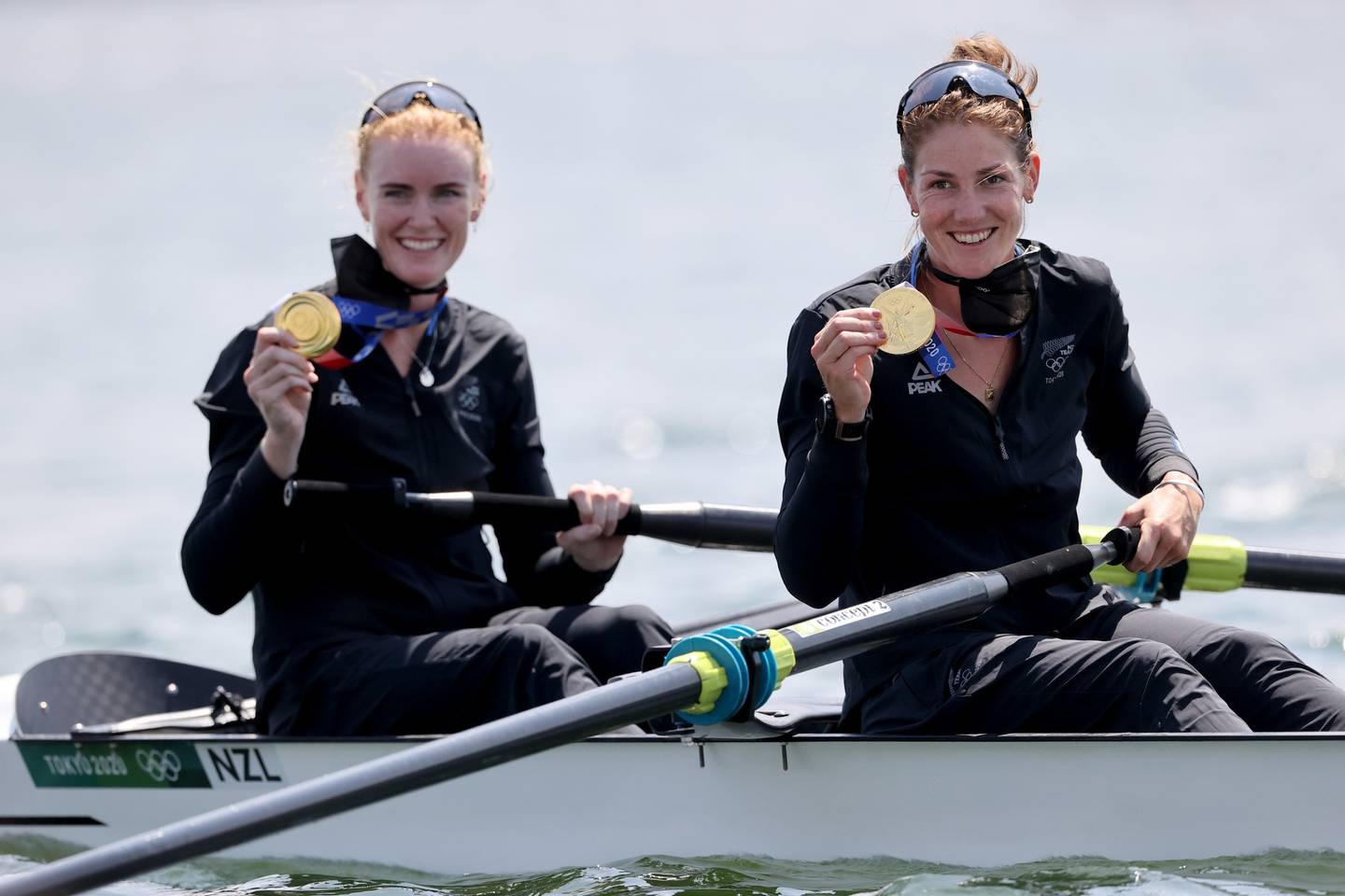 Grace Prendergast and Kerri Gowler from New Zealand with their gold medals. Photo / Getty