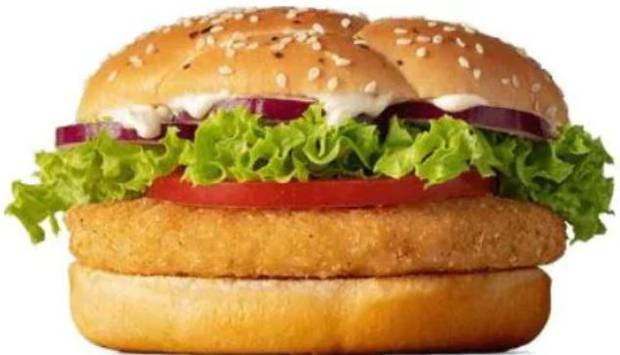 Macca's launched its McVeggie burger last year, also cooked on the same equipment to cook chicken. Photo / McDonald's