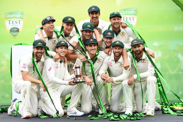 Australia celebrate after claiming the 3-0 series win over the Black Caps. Photo / Photosport
