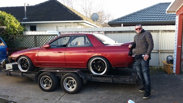 Townsend finally finished working on his Nissan Skyline with the help of his stepfather. Photo / Supplied