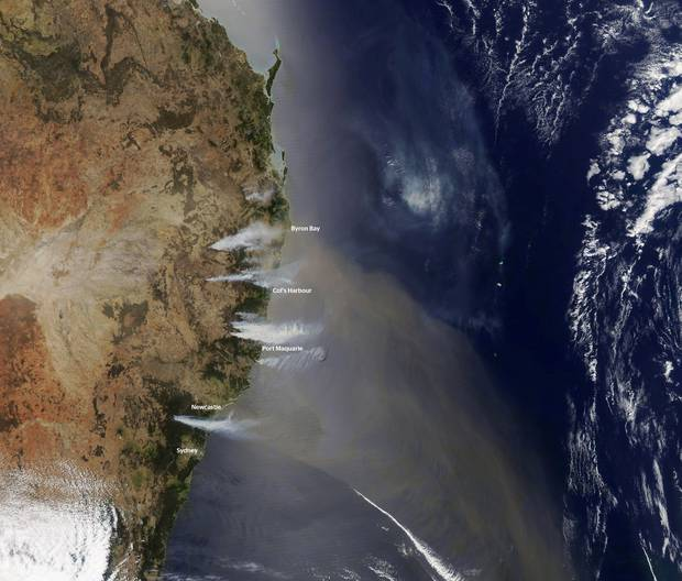 This satellite image, taken from the NASA Earth Observatory, shows the extent of fires burning across eastern Australia. Photo / NASA