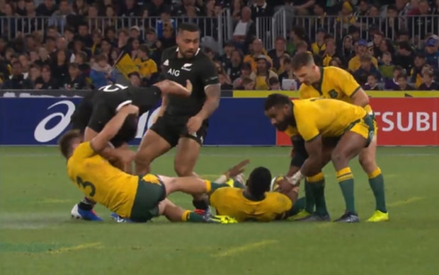2. O'Connor continues to twist Lienert-Brown's neck as the Wallabies secure the ball.