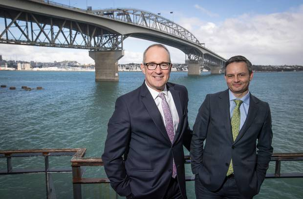 In August 2018 Transport Minister Phil Twyford, left, and Green Party co-leader James Shaw said the Government would fully fund the $67m SkyPath project. It is now costing $240m. Photo / Herald.